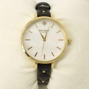 NEW Kate Spade New York Metro Black Leather Watch